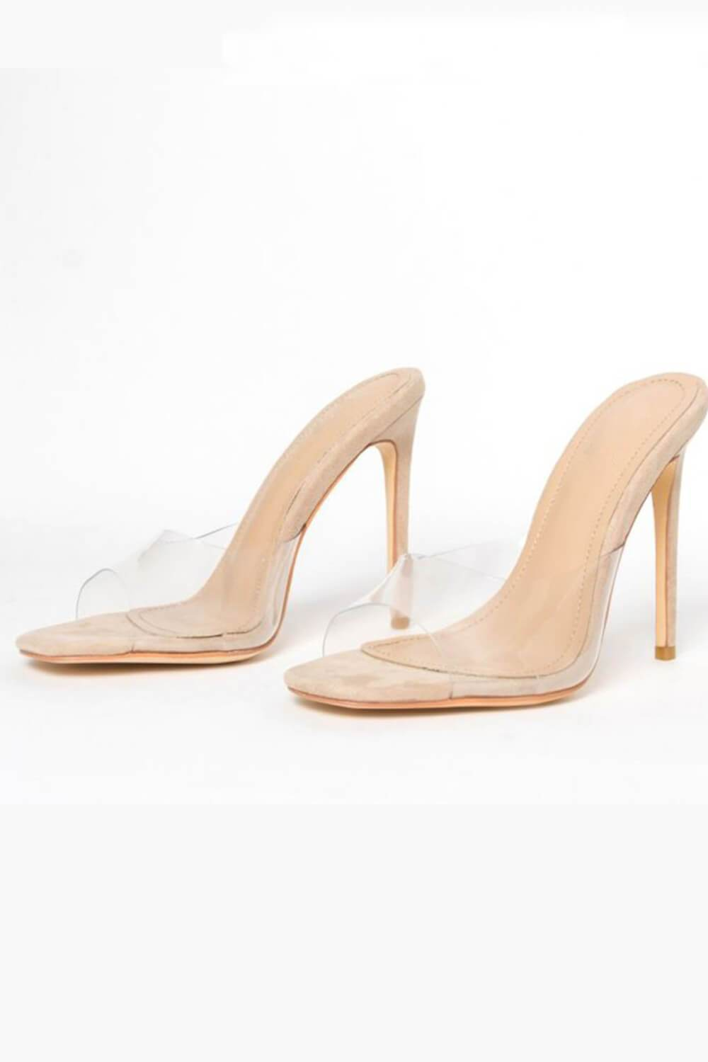Beige Snake Clear Stiletto Mules (4095662981179)