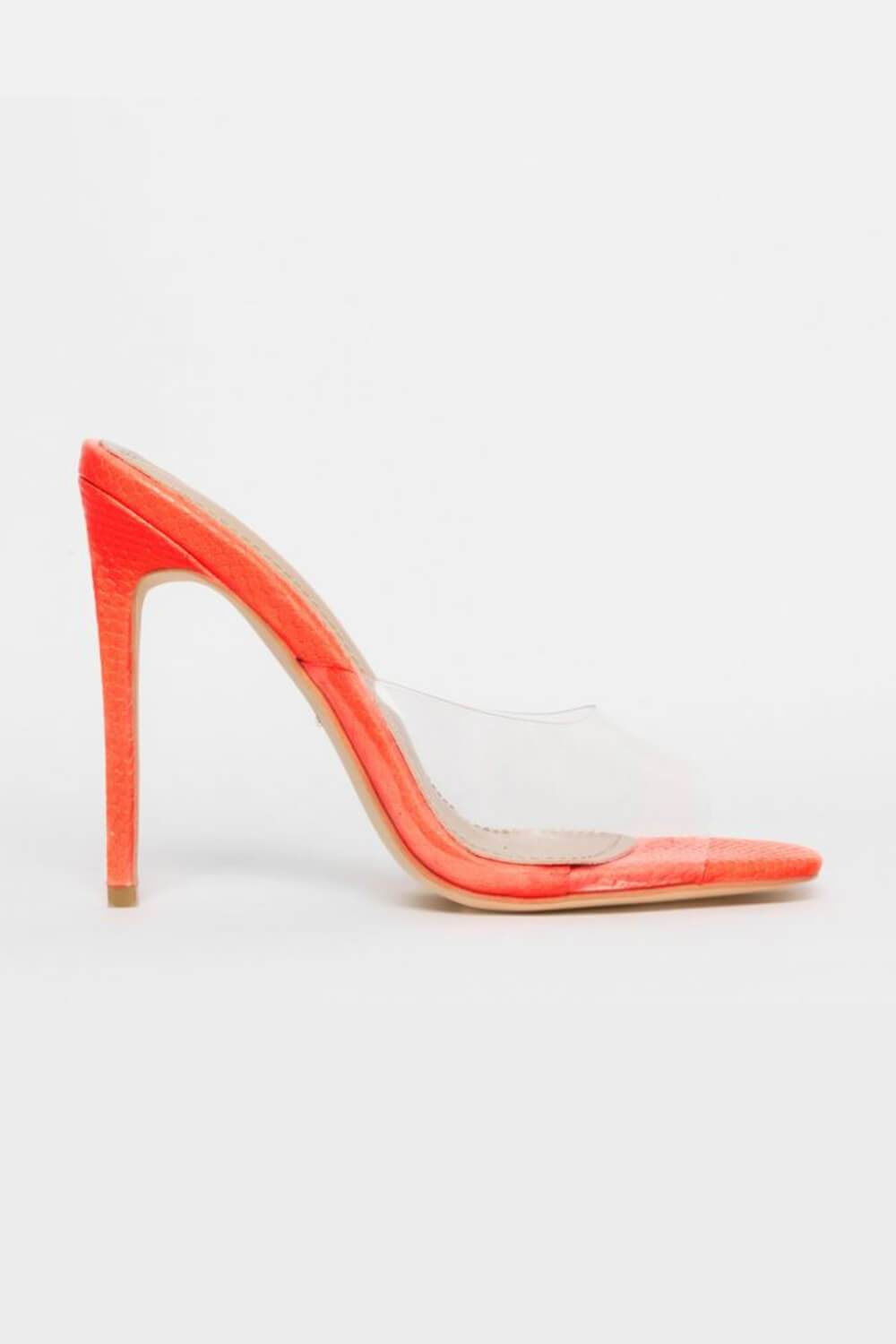 Orange Snake Clear Stiletto Mules (4095663112251)