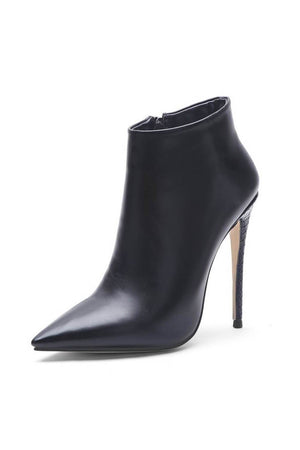 Black Pointed Toe High Heeled Ankle Boots (4110247886907)