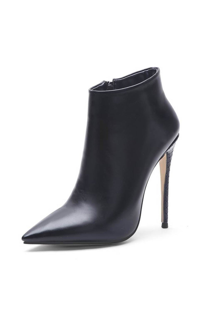 Black Pointed Toe High Heeled Ankle Boots