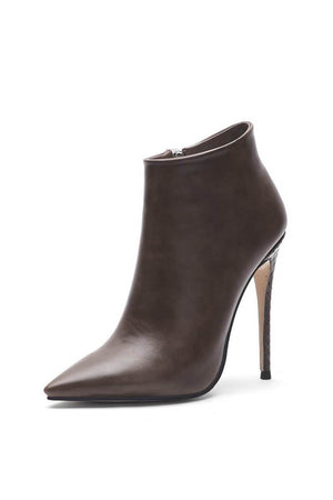 Coffee Pointed Toe High Heeled Ankle Boots (4110247985211)