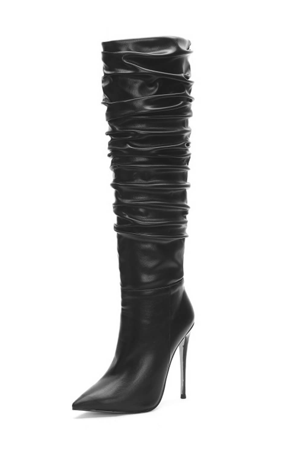 Black Ruched Stiletto Knee High Boots