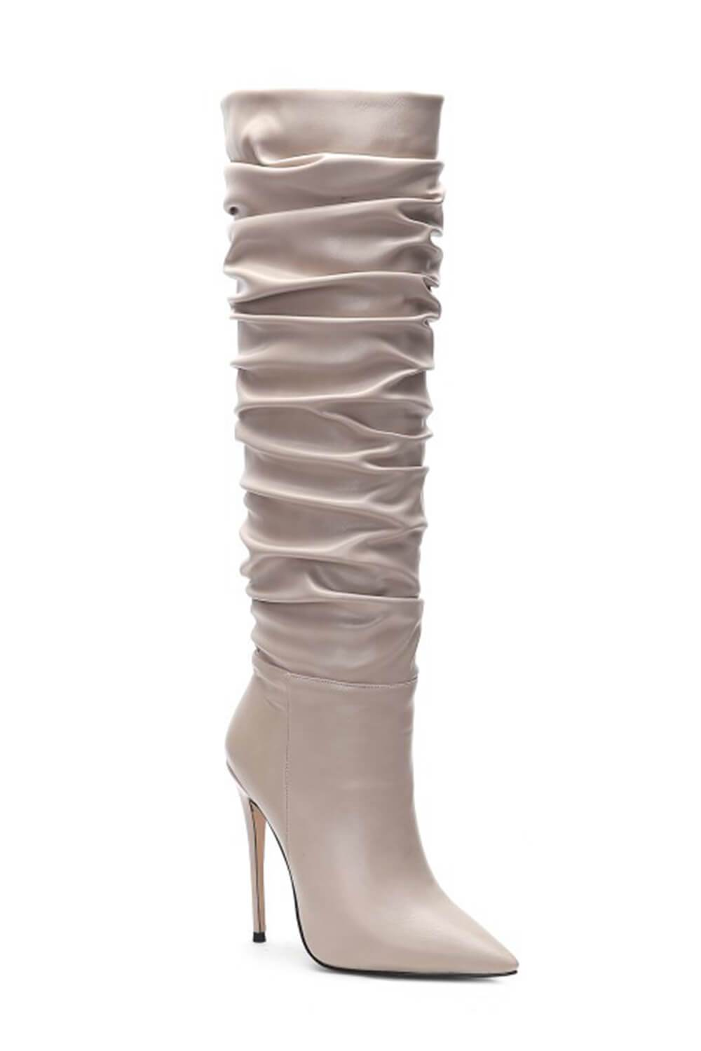 Beige Ruched Stiletto Knee High Boots