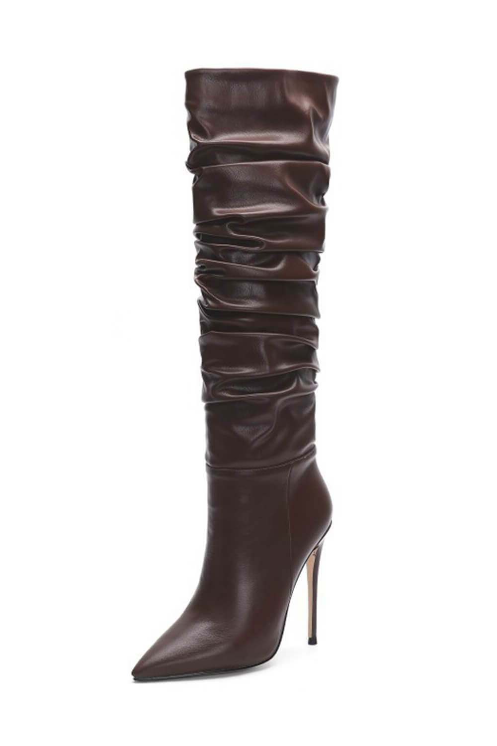 Coffee Ruched Stiletto Knee High Boots (4110248378427)