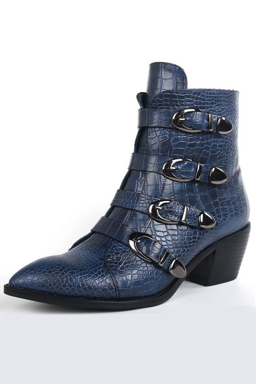 Steelblue Croc Ankle Boots With Buckle Detail (4110248443963)
