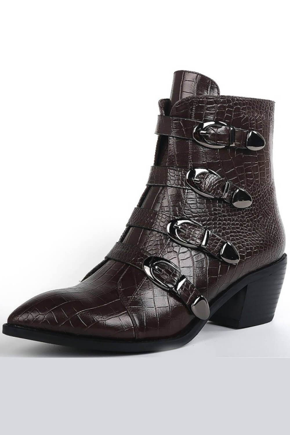Coffee Croc Ankle Boots With Buckle Detail (4110248476731)