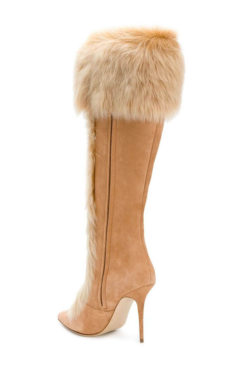 Brown Suede Faux Fur Cuff Lace Up Stiletto Boots (4110248607803)
