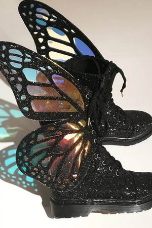 Black Metamorphic Glitter Lace Up Boots With Butterfly Wings (4110248673339)