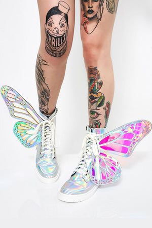 Holographic Metamorphic Lace Up Combat Boots With Butterfly Wings (4110248738875)