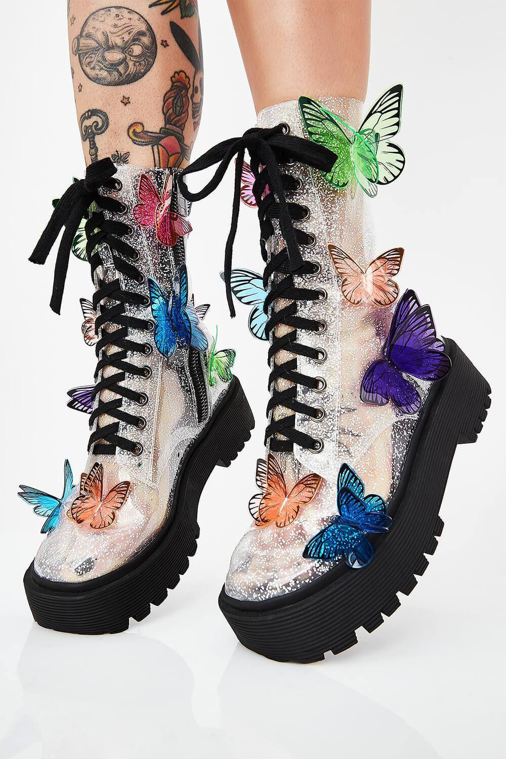 Clear Glitter Chunky Lace Up Boots With 3D Butterfly (4110248935483)