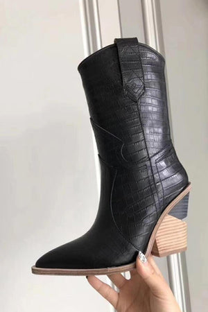 Black Croc Cut-Out Heel Mid Western Cowboy Boots (4163099197499)