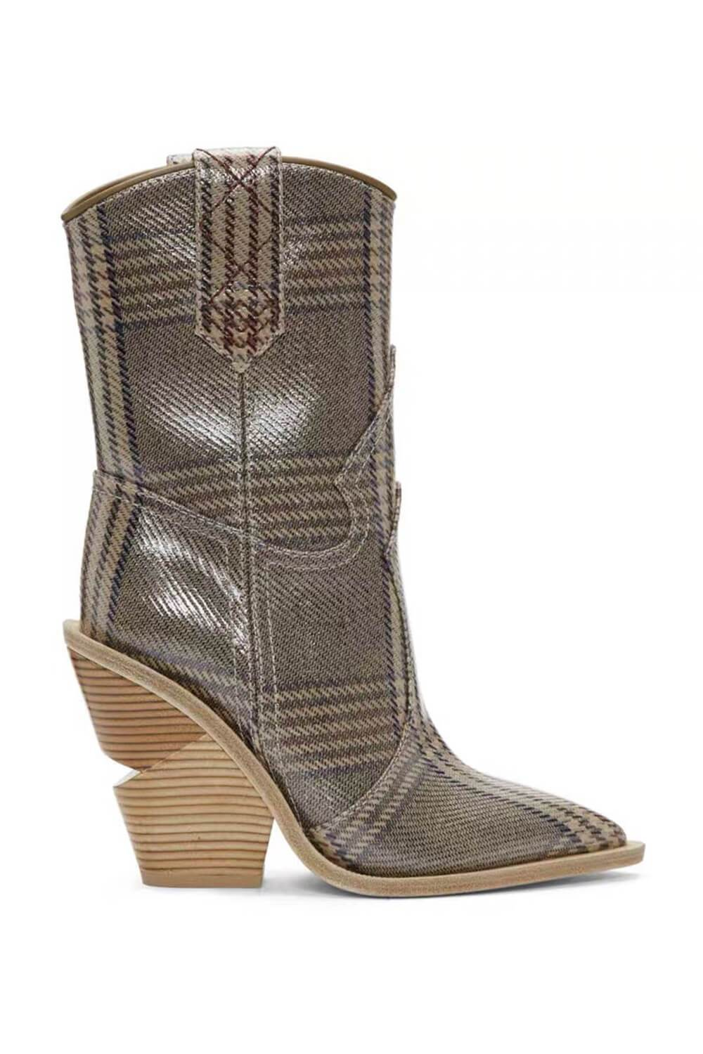Plaid Print Croc Cut-Out Heel Mid Western Cowboy Boots (4163099328571)