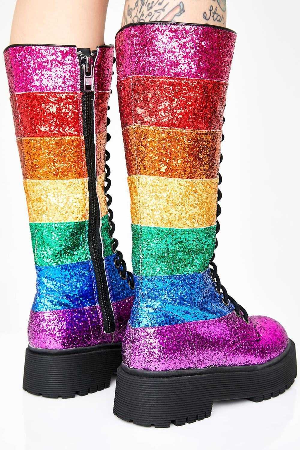 Rainbow Glitter Lace Up Knee High Platform Chunky Boots (4258899329083)