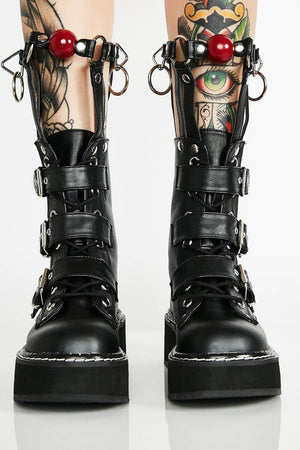 Black Buckle Chunky Platform Boots With Silver Hardware (4258898935867)