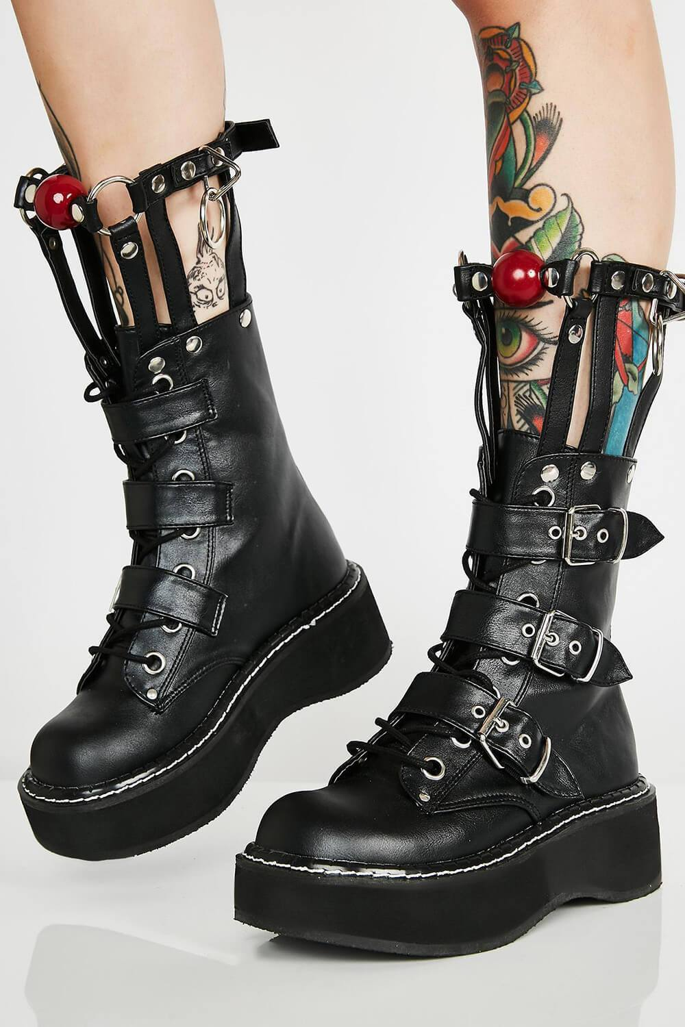 Black Buckle Chunky Platform Boots With Silver Hardware