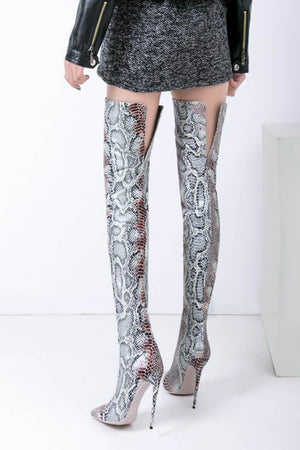 Snakeskin Pointed Stiletto Heel Thigh High Boots (4258898870331)
