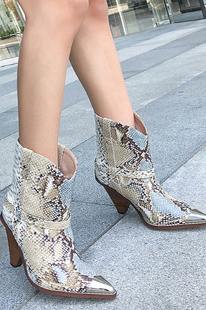 Snakeskin Western Cowboy Mid Calf Boots (4258898804795)