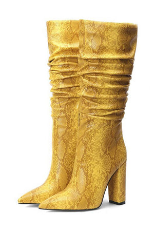 Yellow Snakeskin Ruched Knee High Boots (4307980550203)