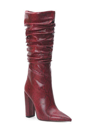 Burgundy Snakeskin Ruched Knee High Boots (4307980648507)