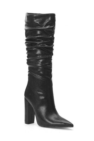 Black Snakeskin Ruched Knee High Boots (4307980714043)