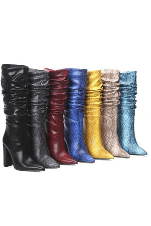 Blue Snakeskin Ruched Knee High Boots (4307980779579)