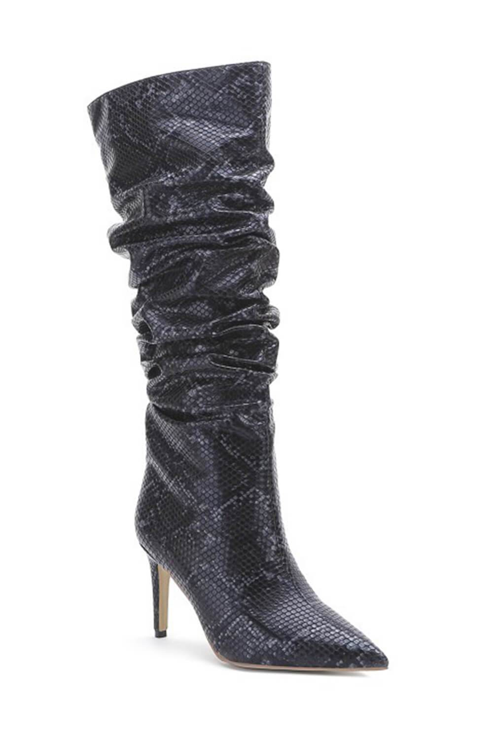 Black Snakeskin Ruched Knee High Stiletto Boots (4307980877883)