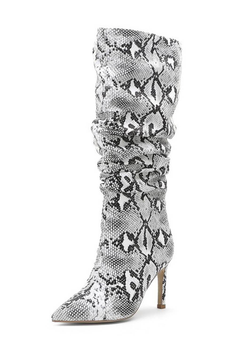 Gray Snakeskin Ruched Knee High Stiletto Boots (4307980943419)