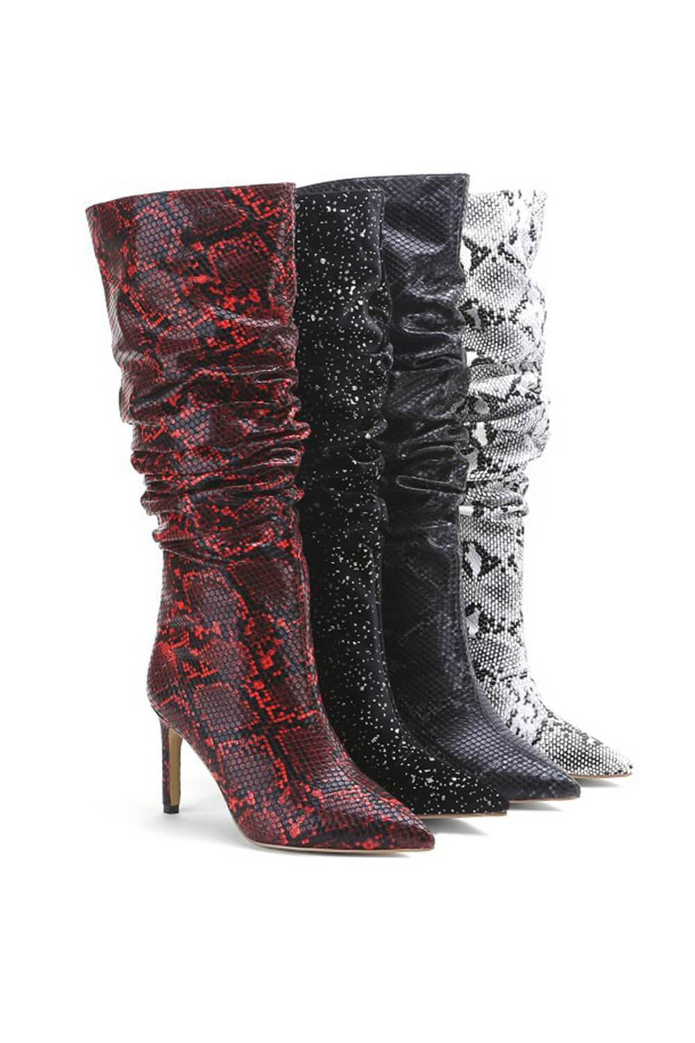 Rust Snakeskin Ruched Knee High Stiletto Boots (4308210155579)