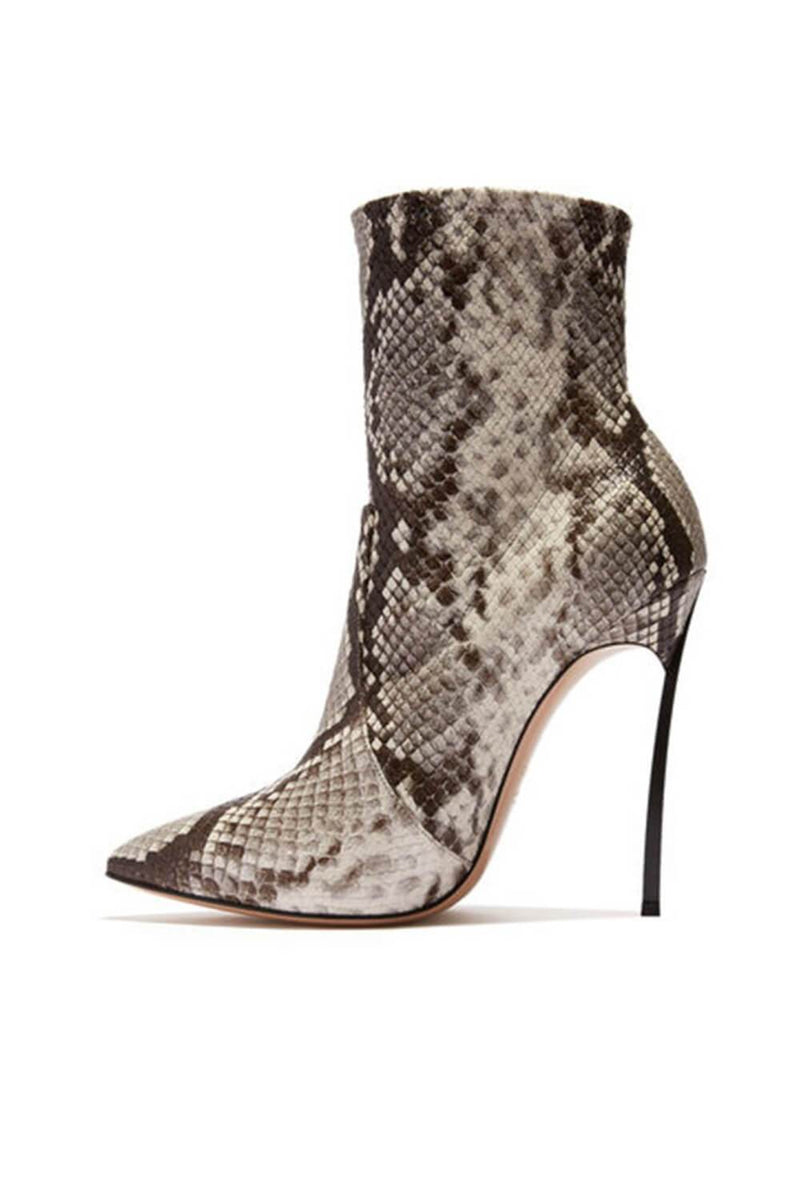 Snake Pointed Stiletto Ankle Boots (4307981008955)