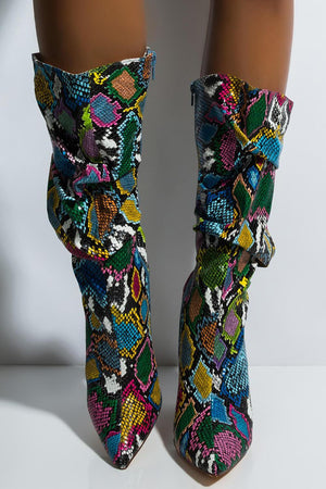 Multi-Colored Python Print Ruched Knee High Boots (4308210122811)