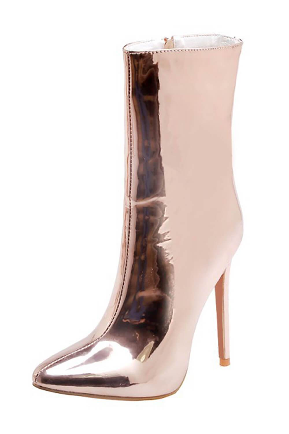 Metallic Champagne Pointed Stiletto Sock Boots (4307981074491)