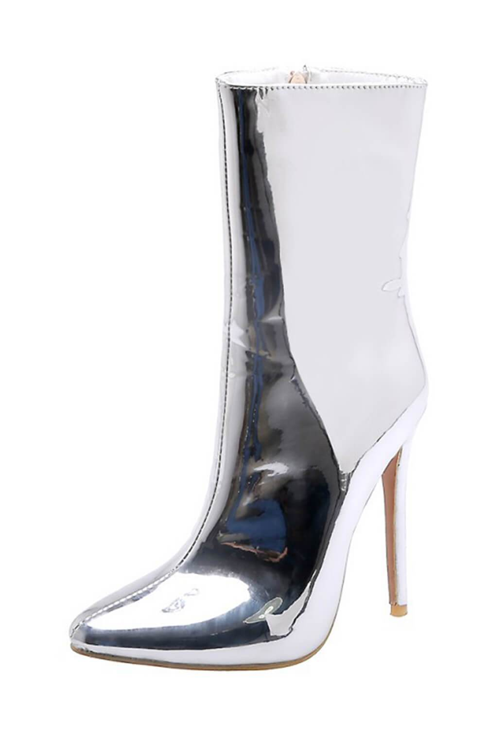 Metallic Silver Pointed Stiletto Sock Boots (4307981140027)