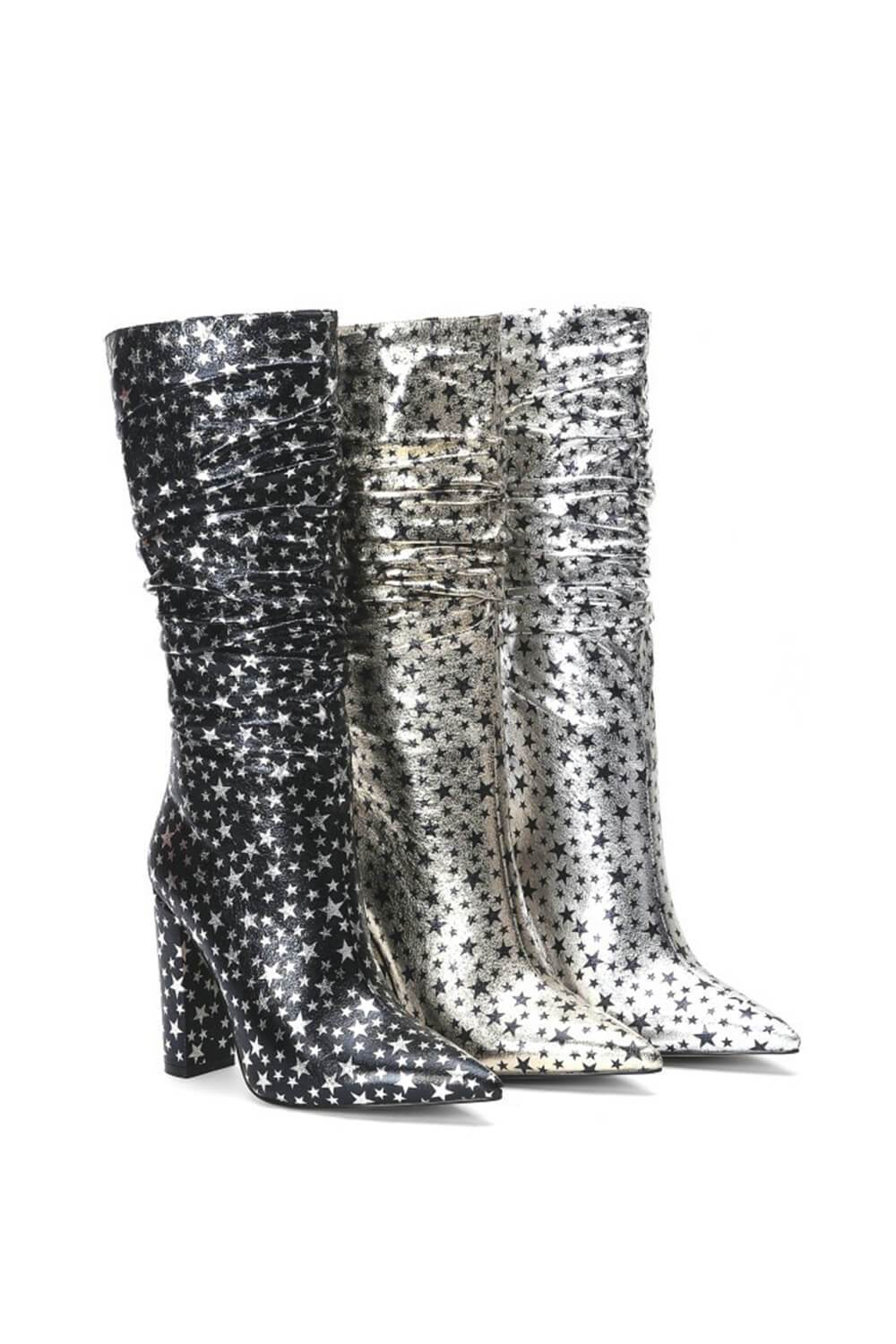 Metallic Black Glitter Star Ruched Kee High Boots (4307981172795)