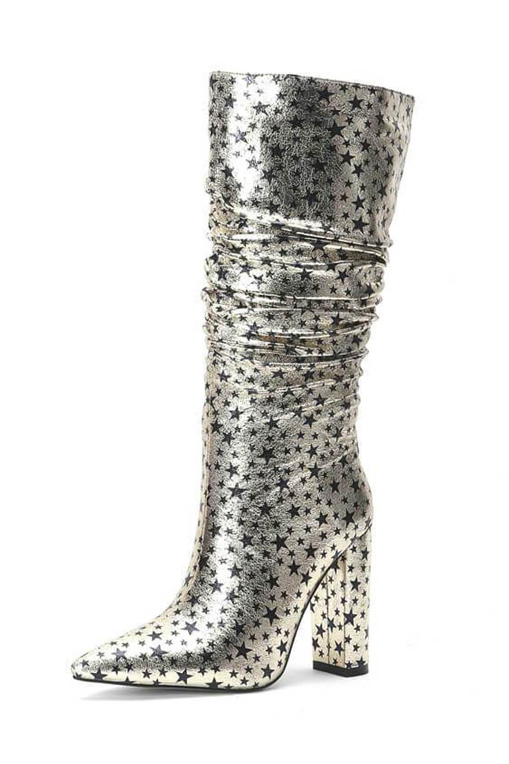 Metallic Gold Glitter Star Ruched Kee High Boots (4307981336635)