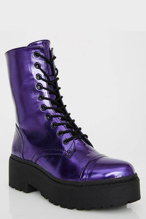 Neon Purple Patent Lace Up Platform Chunky Ankle Boots (4307981402171)