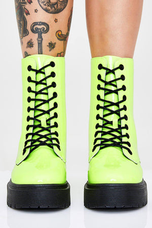 Neon Green Patent Lace Up Platform Chunky Ankle Boots (4307981434939)