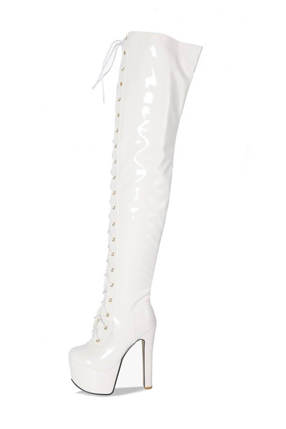 White Patent Platform Lace Up Over The