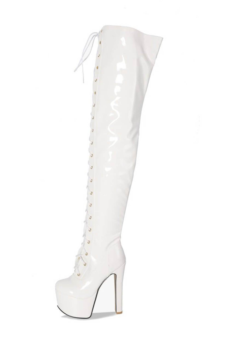 White Patent Platform Lace Up Over The Knee Boots (4307981467707)