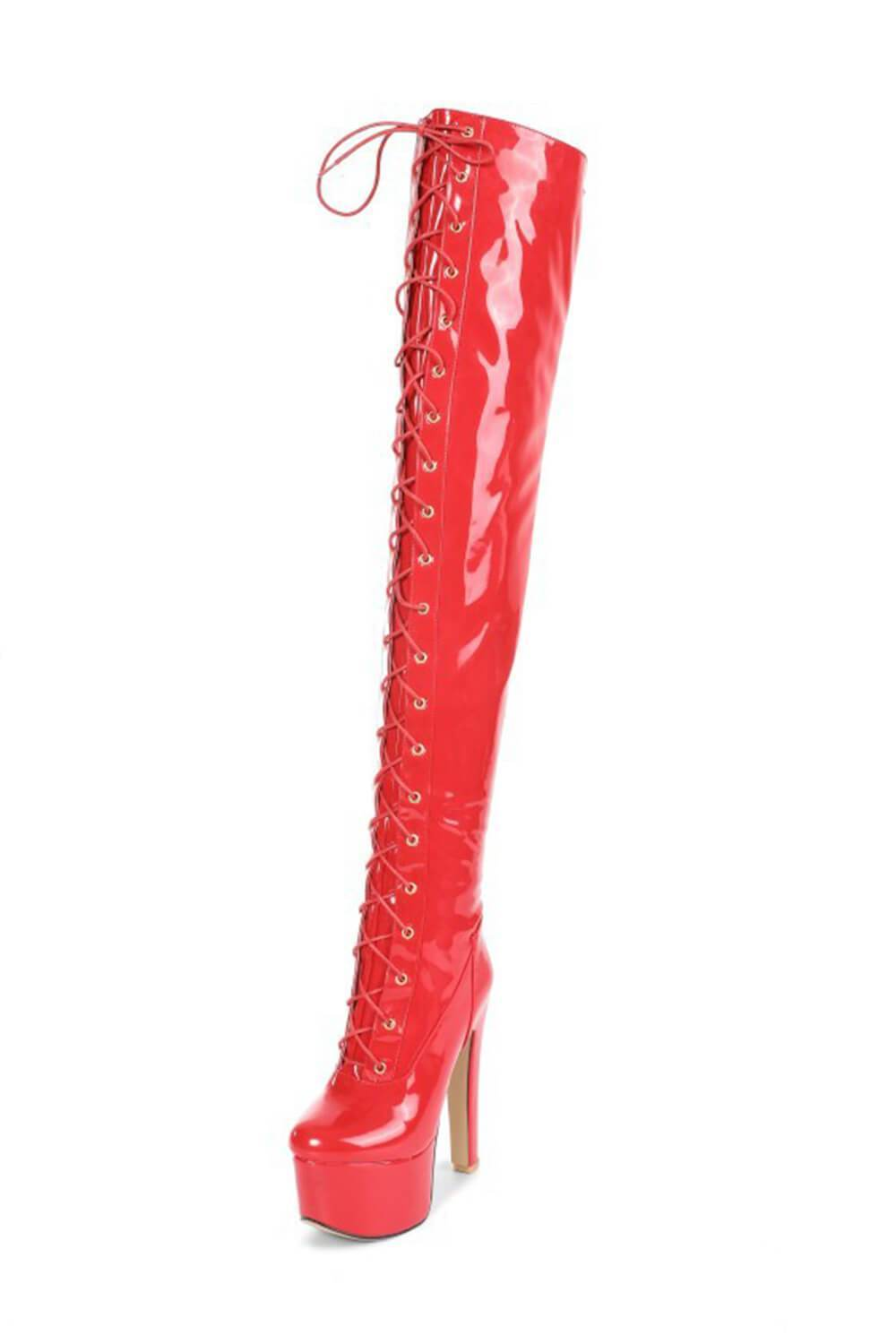 Red Patent Platform Lace Up Over The Knee Boots (4307981500475)