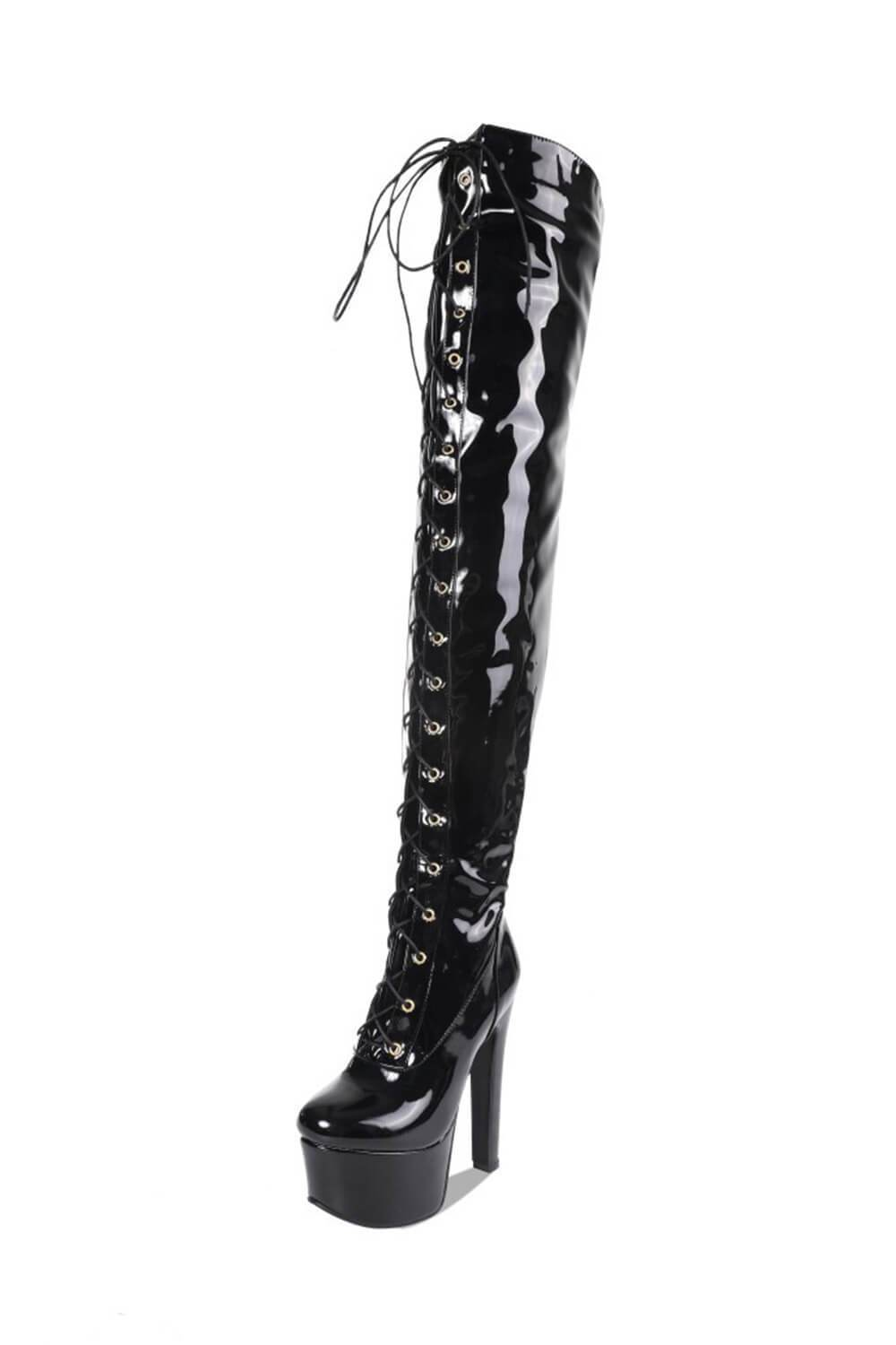 Black Patent Platform Lace Up Over The Knee Boots (4307981533243)