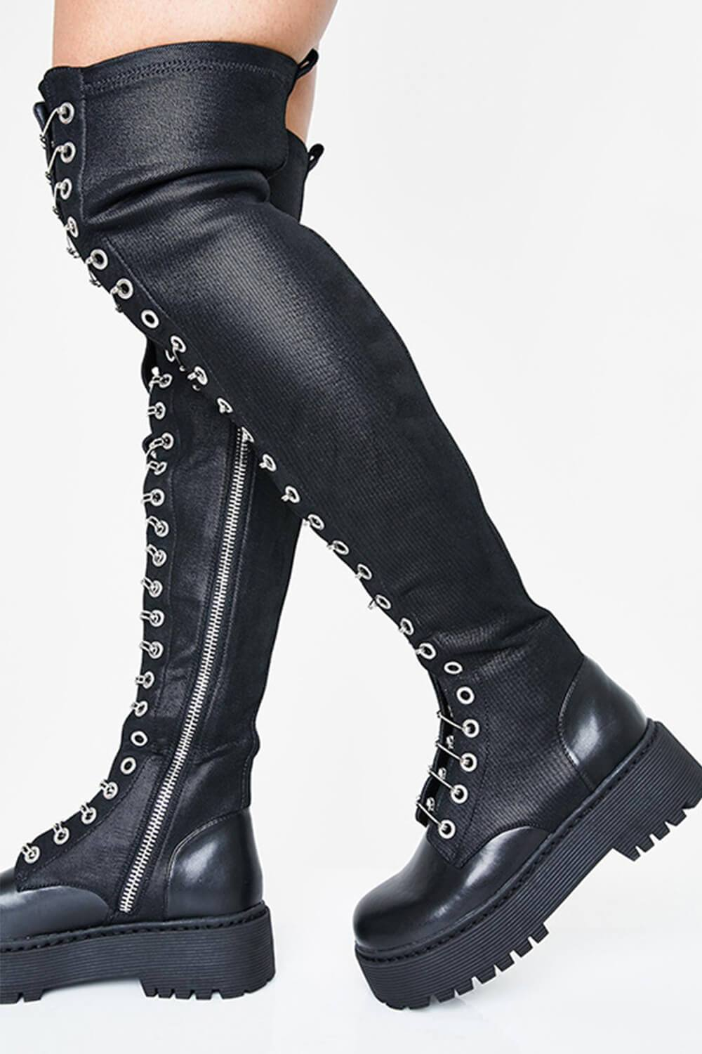 Metal Pin Thigh High Chunky Platform Boots (4307981598779)