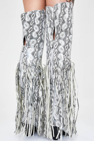 Grey Snakeskin Fringe Knee High Cowboy Boots