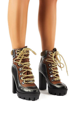Black Color Block Lace-Up Heeled Chunky Hiker Ankle Boots (4307981762619)