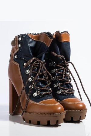Brown Color Block Lace-Up Heeled Chunky Hiker Ankle Boots (4307981828155)
