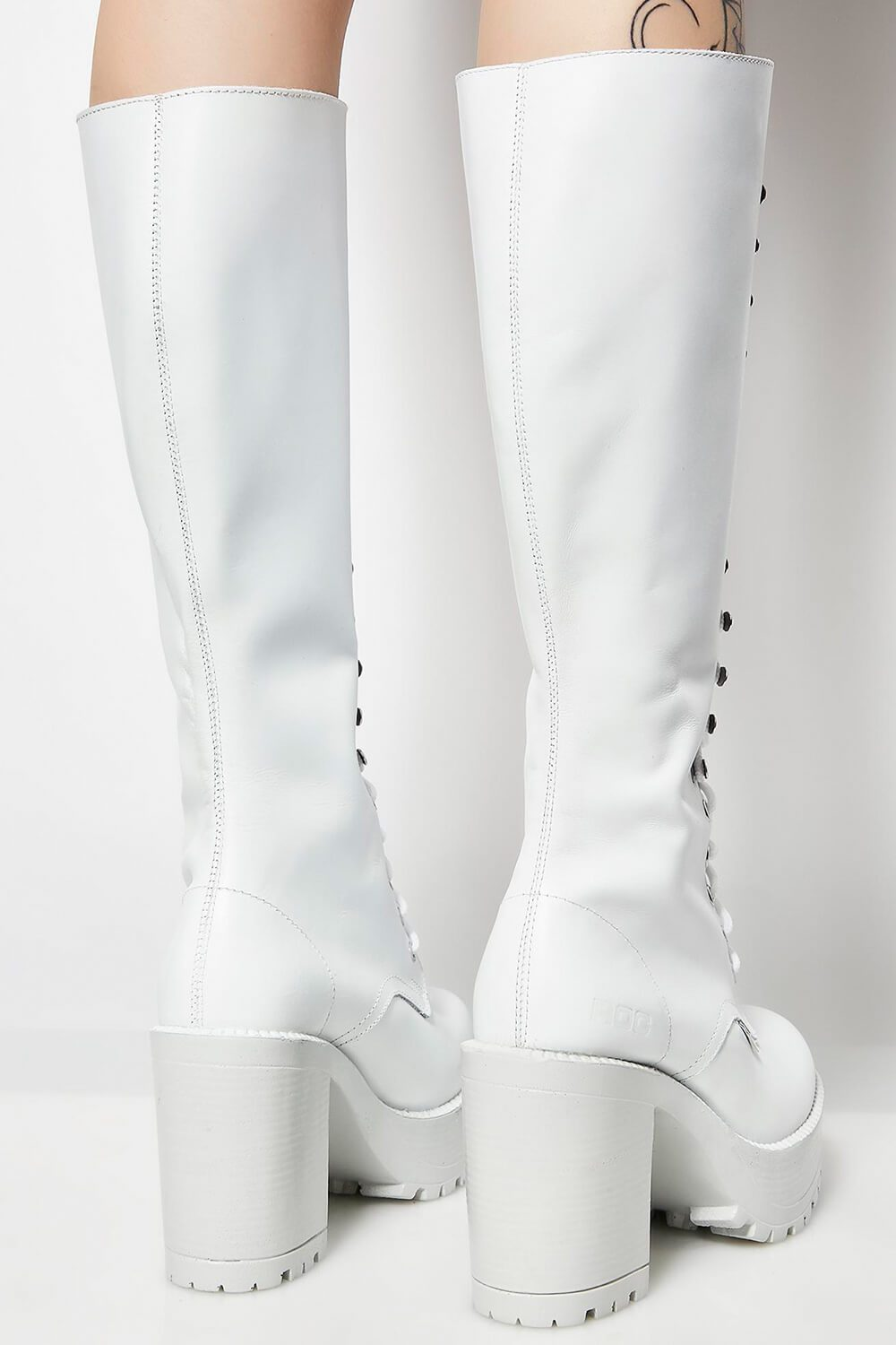 White Lace Up Knee High Chunky Platform Boots
