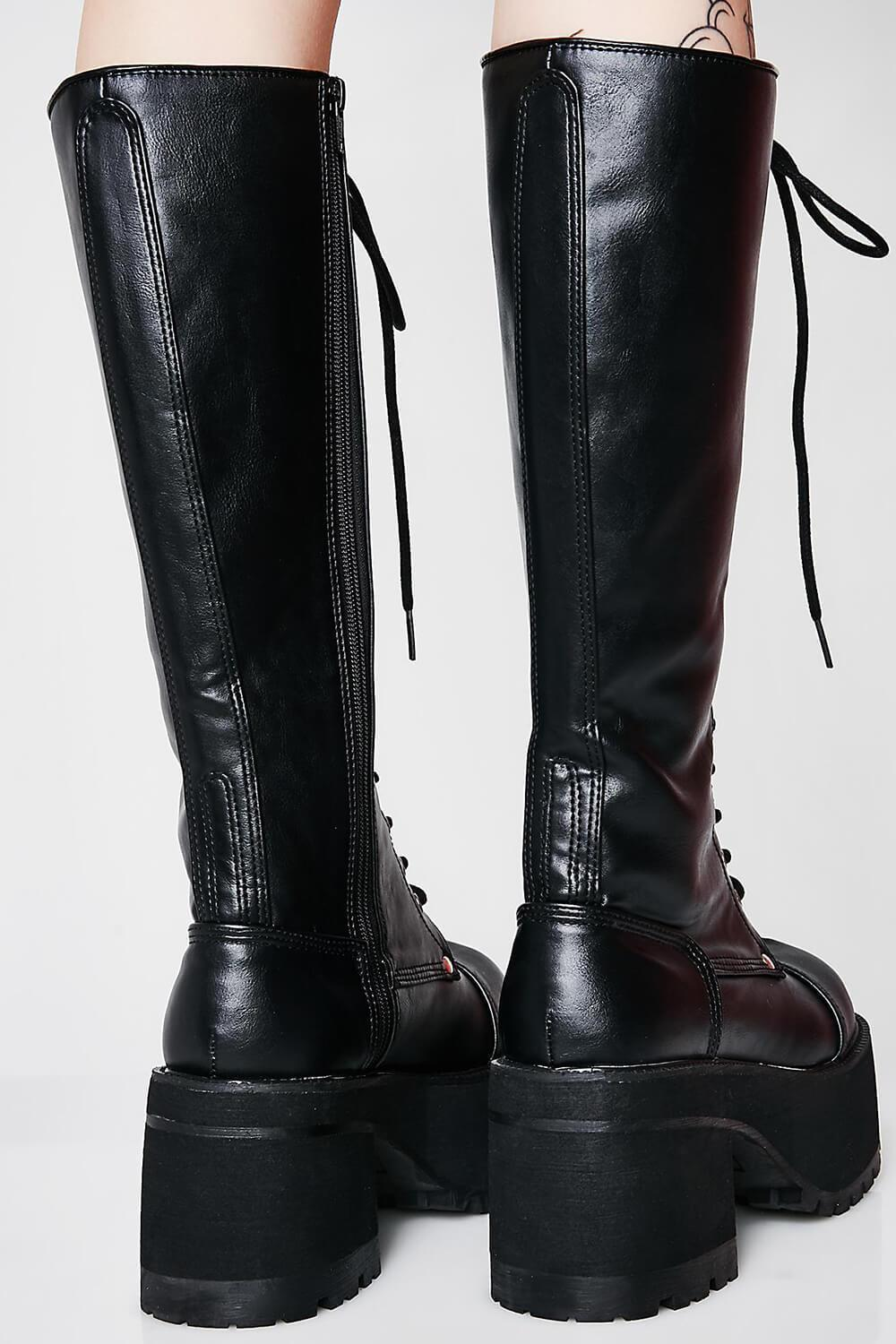 Black Lace Up Knee High Chunky Platform Boots