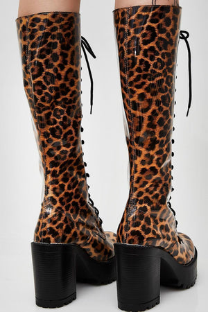 Leopard Lace Up Knee High Chunky Platform Boots