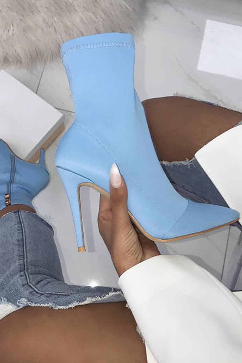 Light Blue Pointed Toe Stiletto Sock Boots