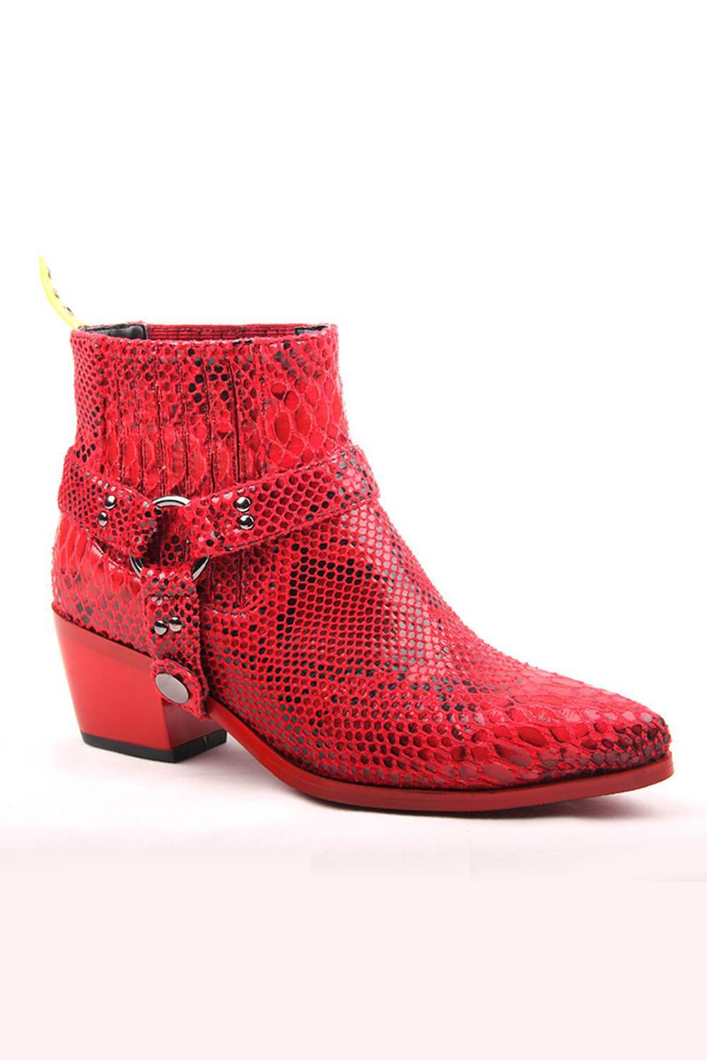 Red Snakeskin Western Chelsea Boot With Strap And Hardware Details