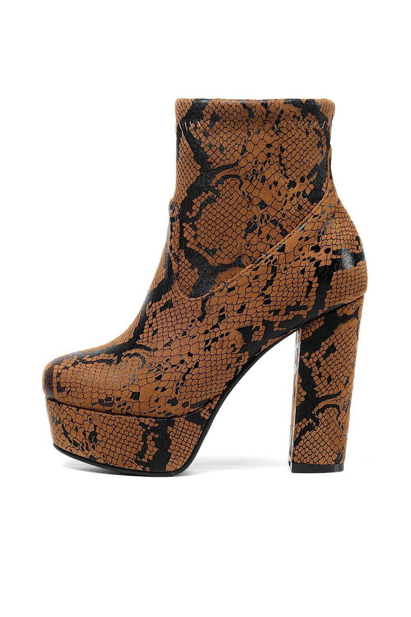 Brown Snakeskin Paltform Heeled Ankle Boots